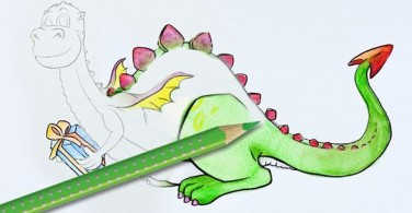 How to colour this little dragon and his present