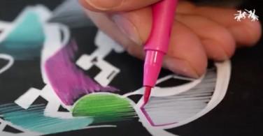 Drawing on black paper - Pitt Artist Pen White